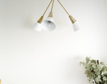 Tramp • art deco inspired chandelier in solid brass & white • UL LISTED