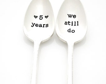 5 Years, We Still Do. Stamped Coffee Spoon Set,  Custom Anniversary Spoons. 5th Wedding Anniversary Gift, by Milk & Honey.