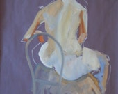 Original Art on Paper-Expressive Life Study of Female Back. Oil painting on paper. Figure study. Simple human form. Nude female life study