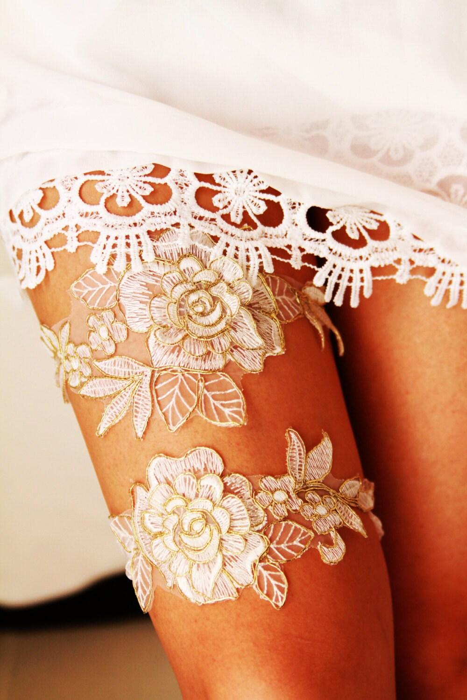 Wedding Garter Set Bridal Garter Set Rose Gold Ivory Lace
