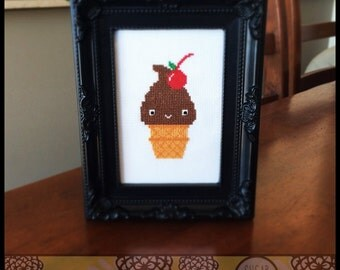 Chocolate Ice Cream Cone with Cherry Cross Stitch Pattern (Printable PDF) - Immediate Download from Etsy - Cute Kawaii SugarStitch