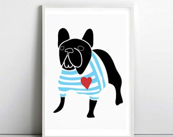 FRENCH BULLDOG in Breton shirt 2 A4 poster -  frenchie - dog prints - art print by nicemiceforyou