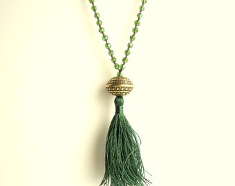Tassel necklace, olive green necklace, Rosary necklace, boho necklace, gypsy necklace, forest green necklace, vintage style necklace
