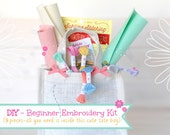 DIY - Hand Embroidery Kit - Beginner Embroidery Kit - Learn how to Embroidery - Hoop Art Kit - 9pcs DIY Embroidery Kit - Beginner Level