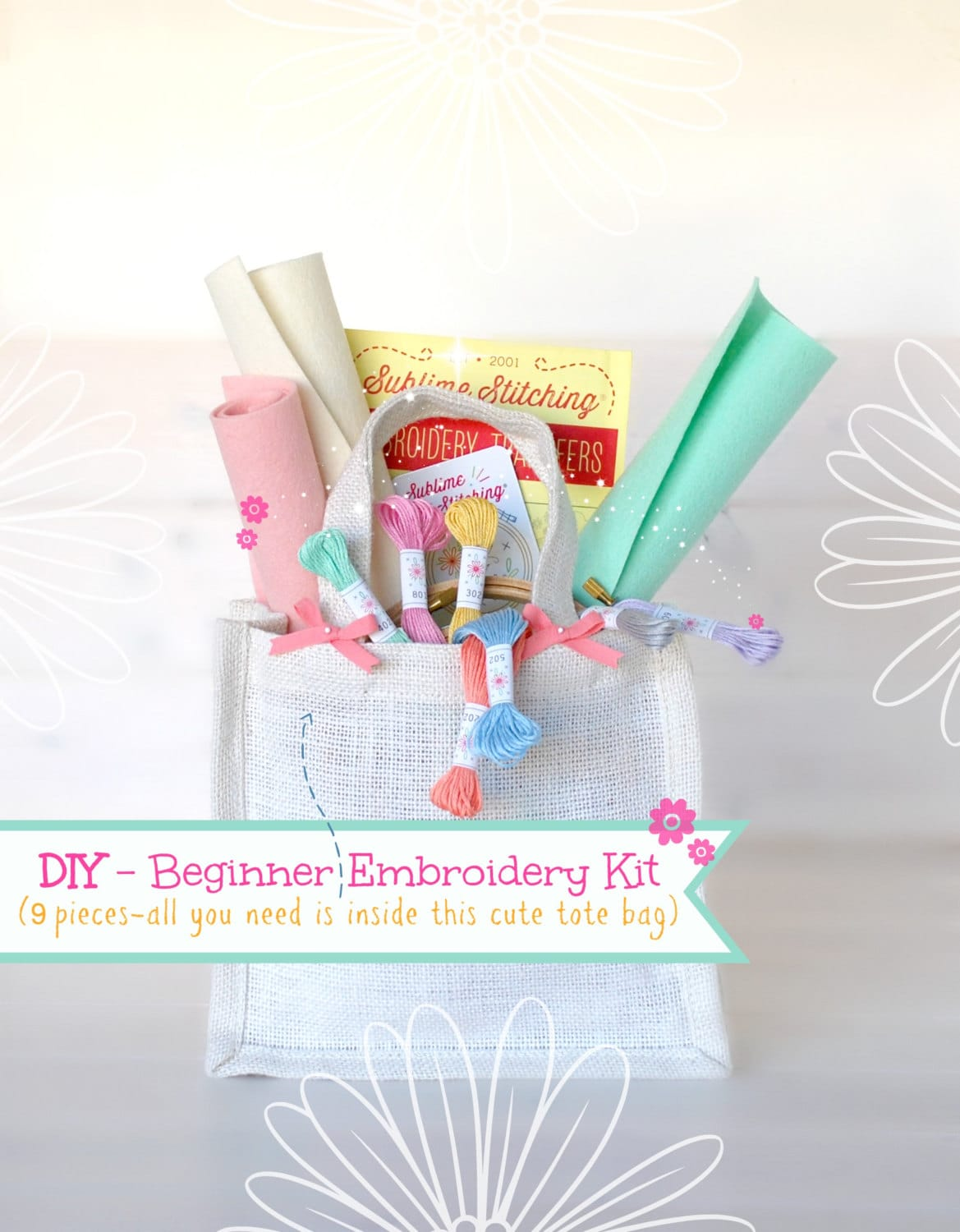 Diy hand embroidery kit beginner learn