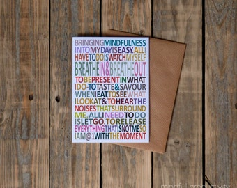 Mindfulness card, inspiring card, blank inside, mindful gift card, typography cards
