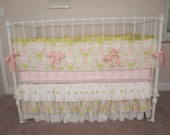 Spring Garden White, Pink, Coral, Green / Lime Puffs Designer Baby Girl Crib Bedding with Crib Cot Bumper Made from Bella Butterfly Fabric