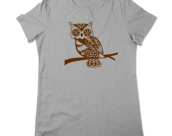 Whimsical Owl Tshirt, Forest Animal Tshirt, Owl T Shirt, Woodland Critter, Owl Tee, Graphic Tee, Womens Sm- 3x Plus Size