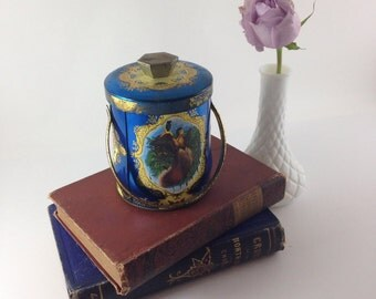 Vintage Tin with Handle, Made in England, Blue and Gold Tin, Bird Canister, Candy Container, embossed