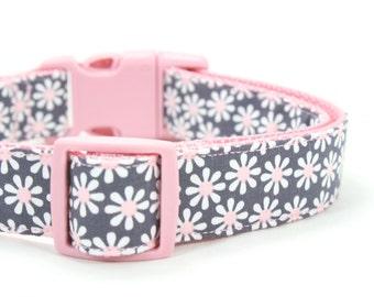 Daisy Dog Collar Girly Grey Pink Floral Dog Collar