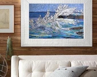 koi mosa que murale panneau de vitrail taill s par. Black Bedroom Furniture Sets. Home Design Ideas