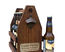 Rustic 12oz Six Pack Wooden Beer Caddy Tote With Bottle Opener