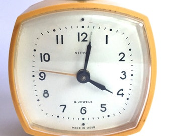 Mid century alarm clock yellow- Vityaz- Made in USSR
