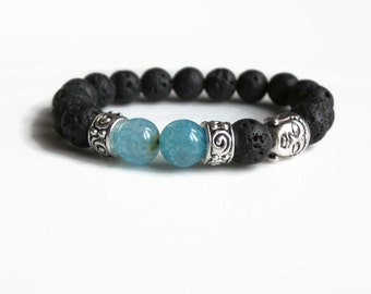 Mens bracelet, Buddha bracelet, beaded bracelet, Lava bracelet, jewellery uk, mens gifts