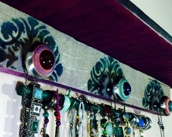 hanging shelf/ pallet wood art /jewelry storage /wall shelving /floating shelves /reclaimed wood decor mandalas 3 knobs 2 hooks bracelet bar