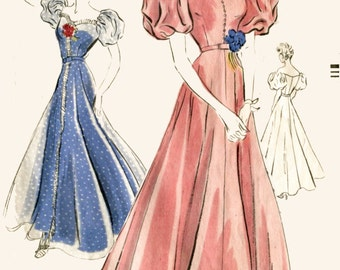 Vintage sewing pattern 1930s 1940s evening gown cocktail wedding dress off the shoulder Vogue repro