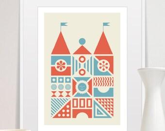 House Print, Nursery House, House of Bricks, House Decor, Mid Century Modern Art, Wall Decor, Nursery Art Print, Nursery Home Decor