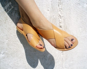 X-shape barefoot leather sandals
