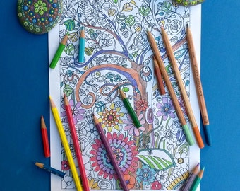 Hand drawn colouring page, boho art tree and flowers, instant digital download abstract art picture to colour in, for children and adults