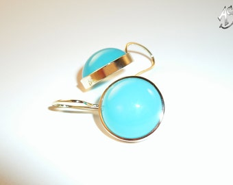 Chalcedony earrings, gold earrings turquoise