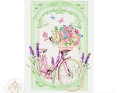 Vintage bicycle card, birthday card, lavender, card for her, french bicycle, French country, flower basket, bicycle basket, friendship card