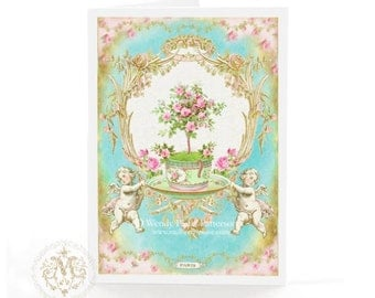French baroque card, tea cup, Birthday card, Valentine card, pink roses, Paris, Marie Antoinette, high tea card, wedding card, card for her