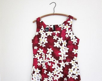 Long Hawaiian Maxi Dress - Royal Creations Tube Dress - Made In Hawaii USA - Sleeveless Cotton Dress Vintage Floral Print Sun Dress XL