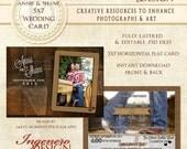 Rustic Wedding Card, Country Wedding Card, Wedding Photo Card, Wedding Invitation,  Photoshop Template, Photo Wedding Card - Annie and Shane