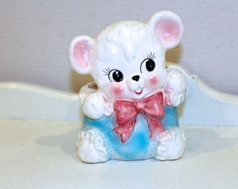 Vintage Planter - Cutest Teddy Bear/Lamb  - Pastel  - 1970's  - Japan - Retro Teddy Bear Planter