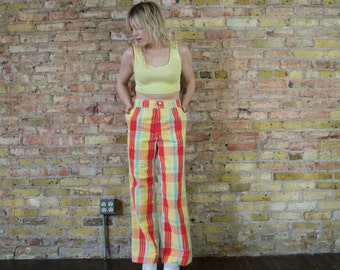 playing hookie 70s vintage plaid trousers s / m  wide leg pants flares cotton summer high rise womens pants bells