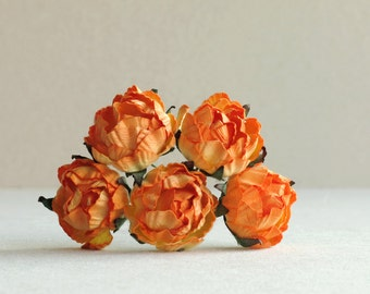 30mm Orange Paper Peonies (5 pieces) - Small mulberry paper flowers with wire stems [530]