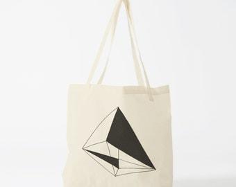 Tote bag Black Geometry, cotton bag, canvas bag, groceries bag, novelty gift, laptop bag, gift for coworker, shopper bag, fabric tote.