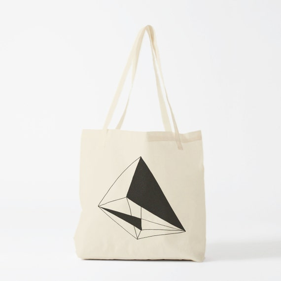 Tote bag Black Geometry, cotton bag, canvas bag, groceries bag, novelty gift, laptop bag, gift for coworker, shopper bag, fabric tote.