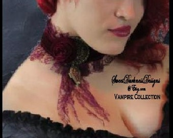 Gothic Choker Necklace COFFIN LOCKET Burgundy Velvet Rose