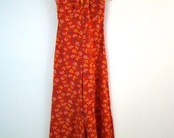 70s Floral Jumpsuit Zip Up Open Back