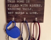 Wood Dog Leash Holder | Pet Lover Gift | Home Décor | Pet Room Décor
