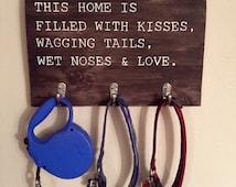 Wood Dog Leash Holder | Pet Lover Gift | Home Décor | Pet Room Décor