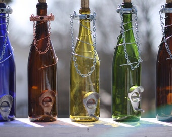 Glass Wine Bottle Bird Feeder - Bird Houses - Gift for Mom - Outdoor - Patio - Handmade Wine Bottle Decor - Gifts for Women - Spring Decor