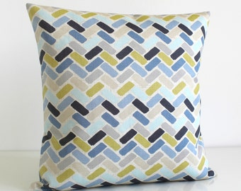 Cotton Pillow Cover, Accent Pillow Cover, Throw Pillow Cover, Toss Pillow, Pillow Sham, Cushion Cover, Pillowcases - Chock-A-Block Blue