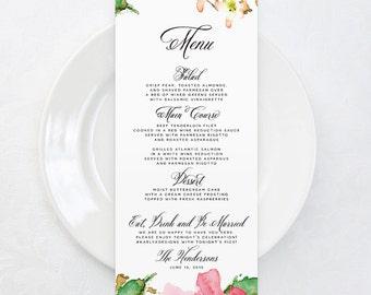 SALE Garden Wedding Menu Cards, Printable Wedding Menu, 4x9 Wedding Menu Card, Floral Wedding Menu, Rustic Wedding Menu, Spring Wedding
