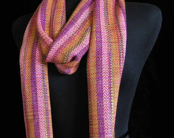 Handwoven Scarf Hand Dyed Yarn Bamboo Scarf Long Pink Coral Salmon Scarf Wrap Spring Shawl for Her Free Shopping in USA - Regency