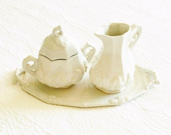 Vintage Romantic Home Heirloom White Creamer and Sugar Bowl Set with Display Tray, Cottage Home, Olives and Doves