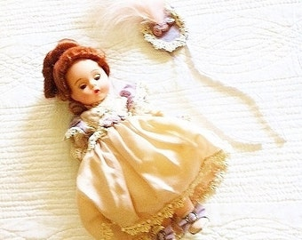 Vintage Cottage Home French Pink and Lavender Blush Victorian Doll with Hat, Olives and Doves