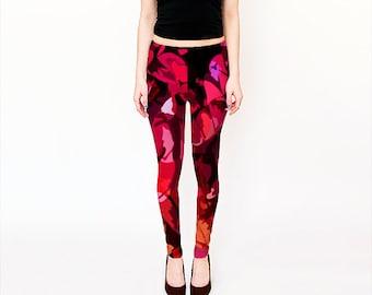 Leggings for Women, Yoga Leggings, Pink Red Design Print Leggings, Red and Black Leggings,Fancy Leggings, Printed Yoga Pants