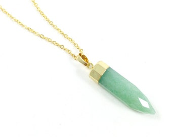 Natural Stone Necklace, Green Aventurine Necklace, Crystal Point Necklace, Gemstone Jewelry, Raw Stone Jewelry, Bohemian Jewelry Womens Gift