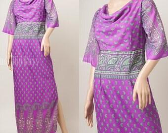 Boho Dress, 70s maxi dress, vintage maxi dress, Vintage purple dress, Vintage Paisley Dress, 70s Bohemian Dress, 70s Hippie Dress - S/M