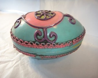 Vintage OLD Large Egg Paper Mache Unique Decorative Decor Egg Conversation Piece Trinket Box Stash Box Jewelry Box