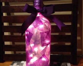 Purple wine bottle lamp