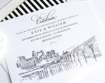 Minneapolis Skyline Rehearsal Dinner Invitation Cards (set of 25 cards)