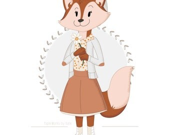 Girl Fox / art print / 8x10